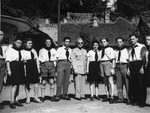 Group portrait of the teaching staff of the Lindenfels displaced persons' center for children.