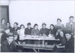 "Gathering of Polish Jewish refugees at the ""Internat"" Betar youth hostel in Vilna."