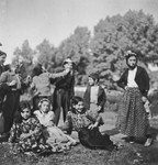 A group of Roma (Gypsies) pose for a photograph.